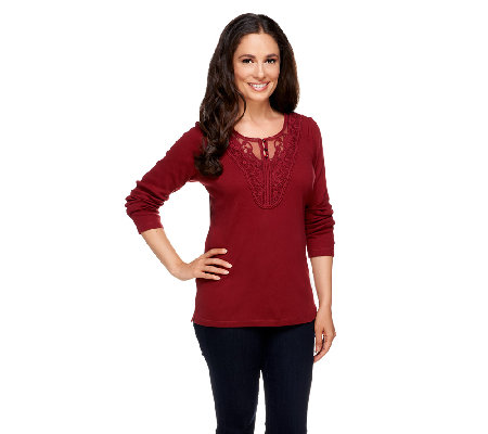Denim & Co. Long Sleeve Ribbed Henley with Lace Trim