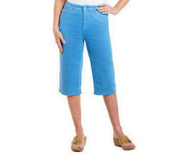 "Denim & Co. ""How Fitting!"" Tummy Slimming Denim Pedal Pushers - A213745"