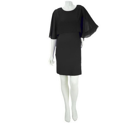 M by Marc Bouwer Knit Dress with Sheer Overlay