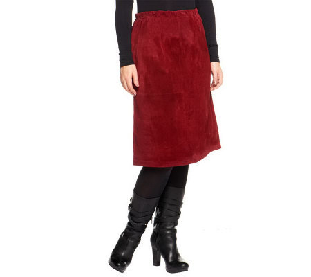 Denim & Co. Washable Suede Skirt with Seam Detail