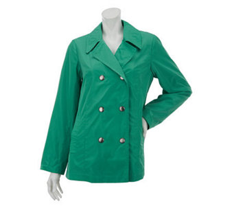 Dennis Basso Water Resistant Double Breasted Snap Front Jacket - A231845
