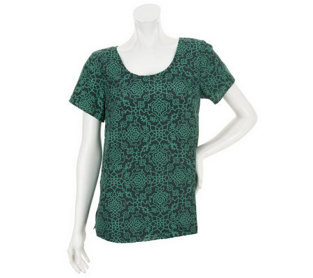 Isaac Mizrahi Live! Scroll Print Short Sleeve Top