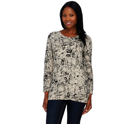 Denim & Co. Active French Terry Floral Print Sweatshirt