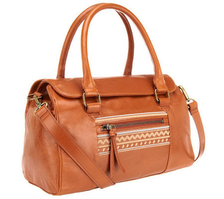 Muxo by Camila Alves Glazed Leather Satchel w/ Stitch Detail