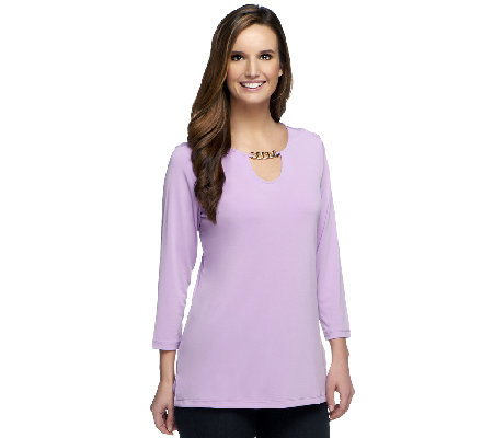 Susan Graver Liquid Knit 3/4 Sleeve Top with Chain Keyhole Detail