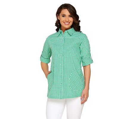 Joan Rivers Gingham Boyfriend Shirt w/ Long Sleeves