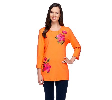 Quacker Factory Hibiscus Embroidered 3/4 Sleeve T-shirt