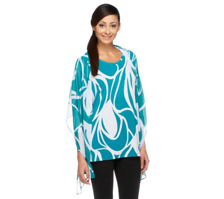 Susan Graver Printed Liquid Knit 3/4 Sleeve Tunic with Chiffon Scarf