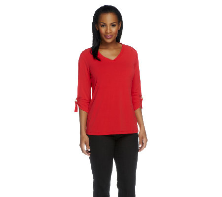 Susan Graver Liquid Knit V-Neck Top with 3/4 Roll Tab Sleeves