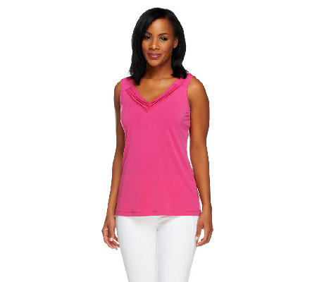 Susan Graver Liquid Knit Tank Top with Ruched V-Neckline