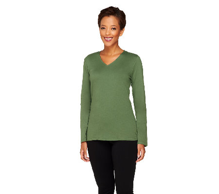 Liz Claiborne New York Essentials Long Sleeve V-Neck Top
