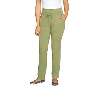 Denim & Co. Active French Terry Straight Leg Pants - A257345