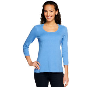 """As Is"" Susan Graver Essentials Stretch Cotton Scoop Sweater - A258345"