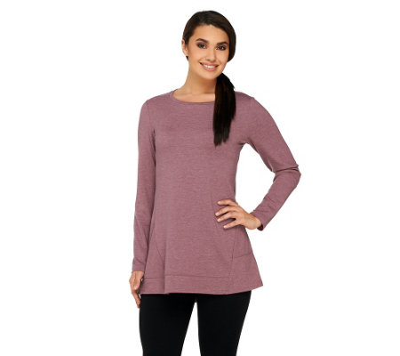 LOGO Lounge by Lori Goldstein French Terry Angled Hem Top