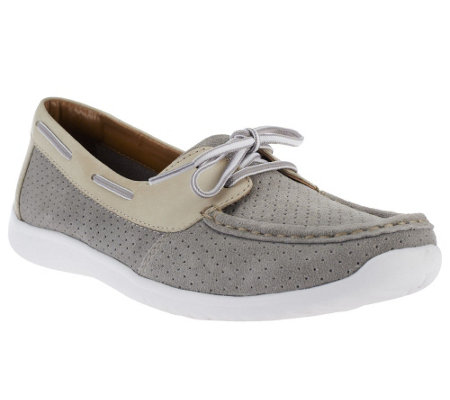 """As Is"" Clarks Bendables Arbor Opal Suede Slip-on Boat Shoes"