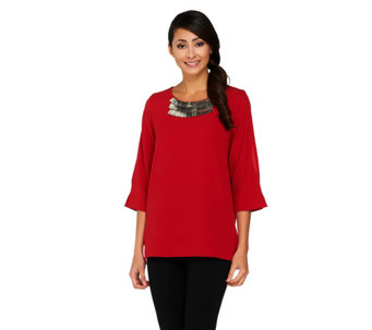 Susan Graver Stretch Crepe 3/4 Split Sleeve Top with Embellishment - A260345