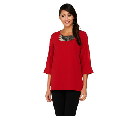 Susan Graver Stretch Crepe 3/4 Split Sleeve Top with Embellishment