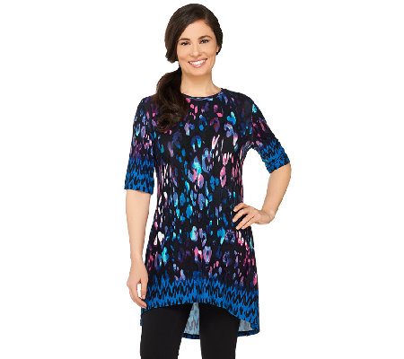 LOGO by Lori Goldstein Printed Elbow Sleeve Knit Top with Hi-Low Hem