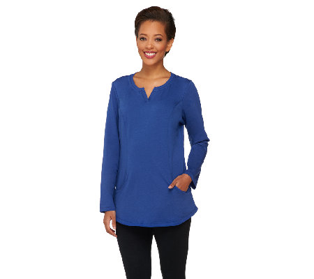 Denim & Co. Active Regular French Terry Tunic with Seaming Detail