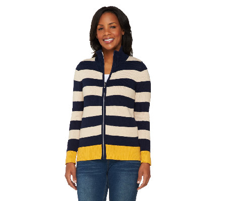Susan Graver Weekend Cotton Acrylic Zip Front Sweater