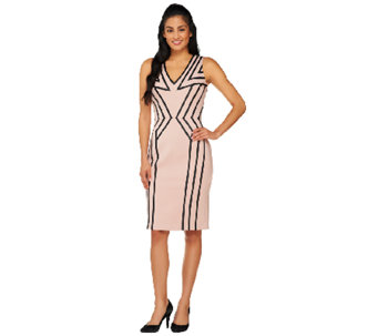 G.I.L.I. Petite Ponte Dress w/ Faux Leather Applique - A262045