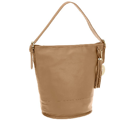 Isaac Mizrahi Live! Bridgehampton Leather Bucket Hobo