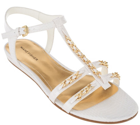 Marc Fisher T-strap Sandals w/ Ankle Strap - Padalis