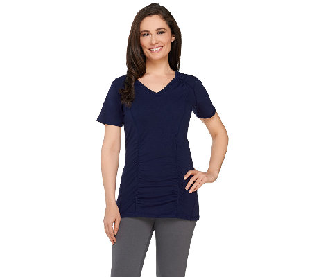 Denim & Co. Active V-neck Short Sleeve Top w/ Seam