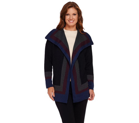 Isaac Mizrahi Live! Cascade Striped Sweater Coat