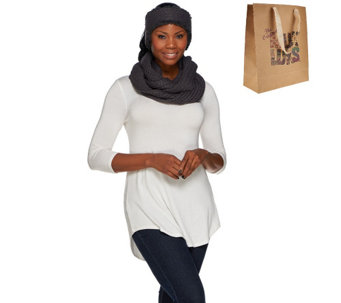 MUK LUKS Infinity Scarf and Headband Set with Gift Bag - A268645