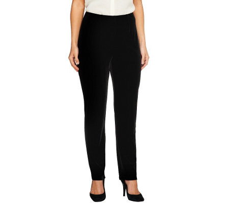 """As Is"" Susan Graver Knit Velvet Slim Leg Pull-on Pants"