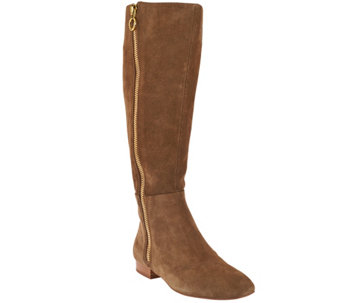 H by Halston Suede Tall Shaft Exposed Zipper Boots - Amber - A269845
