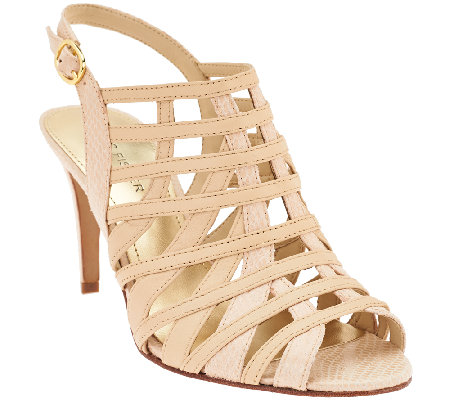 """As Is"" Marc Fisher Leather Open-toe Heeled Sandals - Nalora"