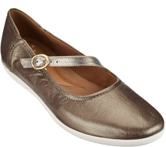 Clarks Leather Mary Janes with Adj. Strap - Helina Amo - A271845