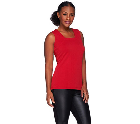 Susan Graver Passport Knit Square Neck Tank w/Seaming Detail