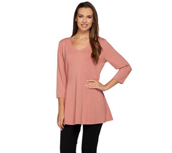 Denim & Co. Jersey 3/4 Sleeve V-neck Tunic Fit and Flare Top - A273045