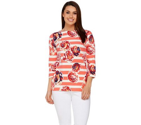 Isaac Mizrahi Live! Engineered Floral Stripe Knit T-Shirt