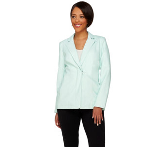 Dennis Basso Faux Leather Snap Front Blazer - A273745