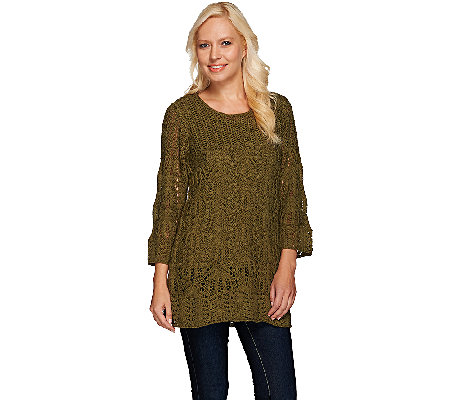 """As Is"" Denim & Co. 3/4 Sleeve Open Crochet Tunic Sweater with Tank"