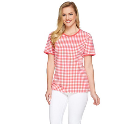 Denim & Co. Gingham Printed Short Sleeve Knit Top