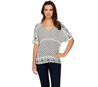 C. Wonder Embroidery Print Crinkle Chiffon Top with Lace - A275845