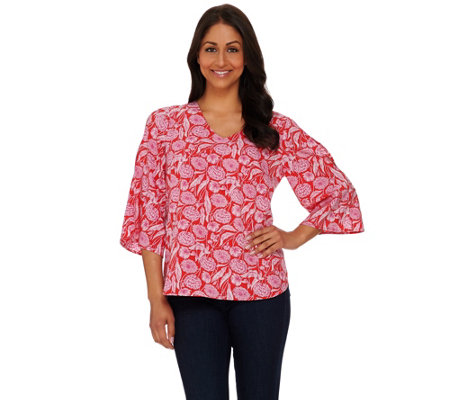 Kelly by Clinton Kelly Cold Shoulder 3/4 Sleeve Blouse