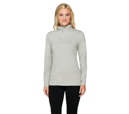 """As Is"" Liz Claiborne New York Essentials Mock Neck Long Sleeve Tee"
