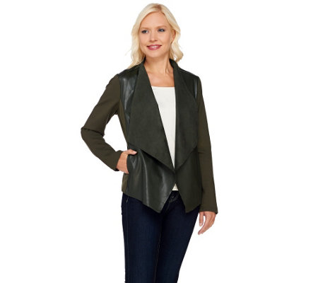 """As Is"" Denim & Co. Faux Leather Cardigan with Ponte Sleeves"