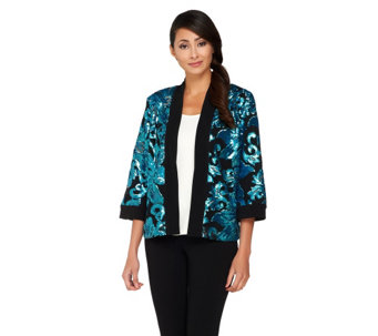 """As Is"" Bob Mackie's Open Front Floral Sequined Jacket - A277545"