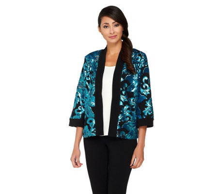 """As Is"" Bob Mackie's Open Front Floral Sequined Jacket"