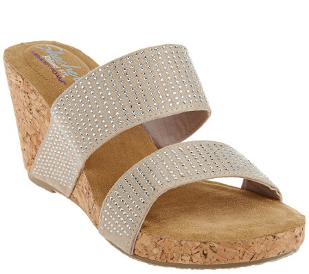 """As Is"" Skechers Relaxed Fit Rhinestone Slide Wedges"