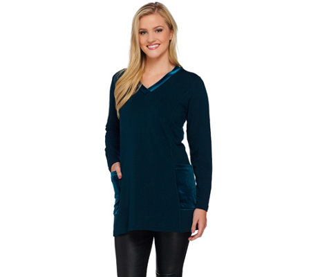 """As Is"" Susan Graver Weekend Brushed Back Knit Top with Velvet Trim"