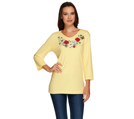 """As Is"" Quacker Factory Embroidered Floral V-Neck T-shirt"