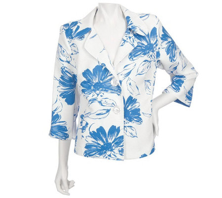 """As Is"" Susan Graver 3/4 Sleeve Printed Floral Textured Jacket"